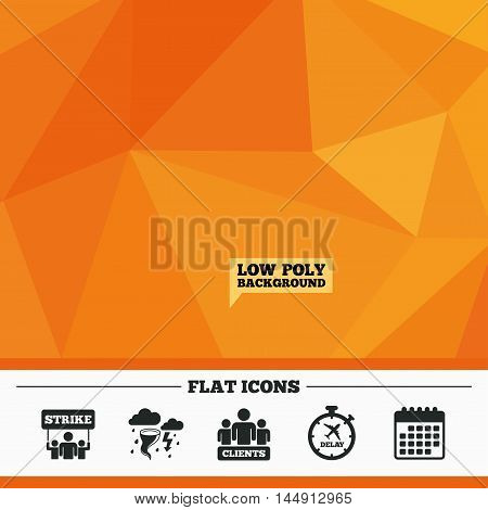 Triangular low poly orange background. Strike icon. Storm bad weather and group of people signs. Delayed flight symbol. Calendar flat icon. Vector