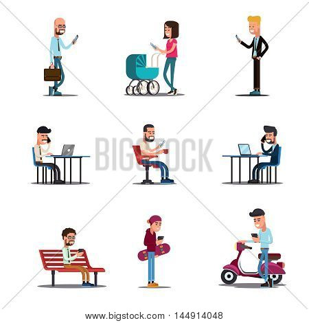 People mobile phones concept. Modern mobile lifestyle vector illustration. People with smartphone, young man in social media