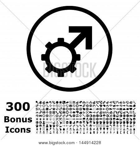 Technological Potence rounded icon with 300 bonus icons. Glyph illustration style is flat iconic symbols, black color, white background.