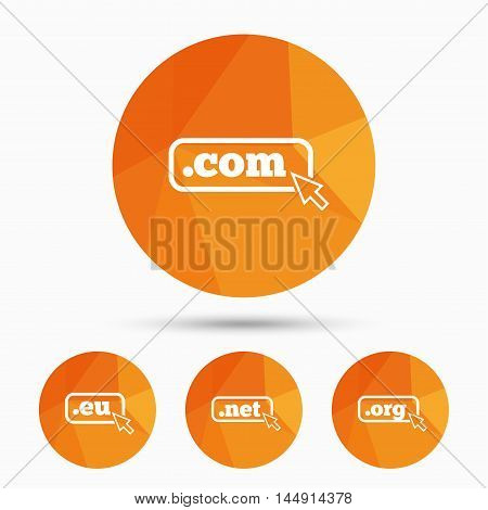 Top-level internet domain icons. Com, Eu, Net and Org symbols with cursor pointer. Unique DNS names. Triangular low poly buttons with shadow. Vector