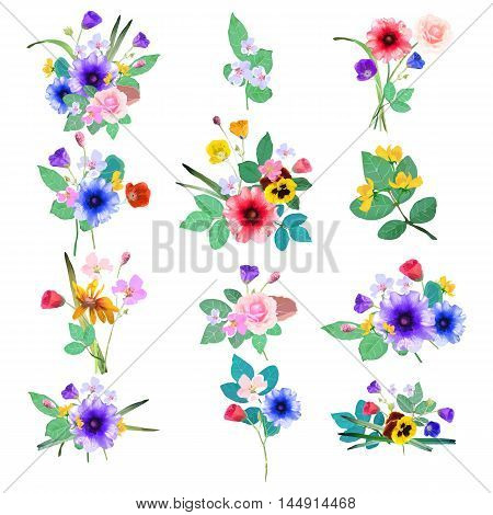 Vector floral set. Colorful floral collection with leafs and flowers. Design for invitation wedding or greeting cards.