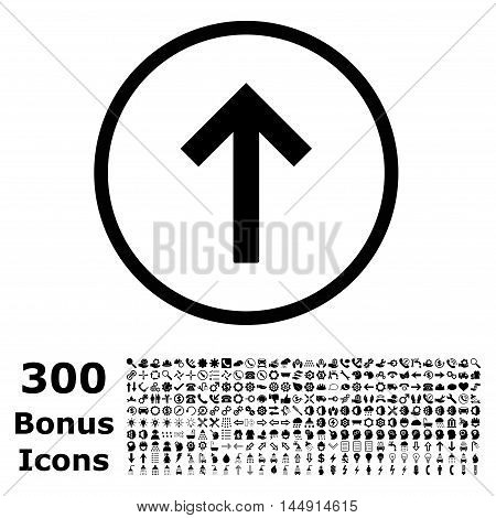 Up Arrow rounded icon with 300 bonus icons. Glyph illustration style is flat iconic symbols, black color, white background.