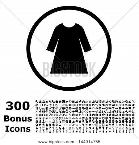 Woman Dress rounded icon with 300 bonus icons. Glyph illustration style is flat iconic symbols, black color, white background.