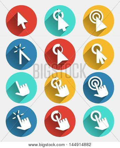 Hand cursor signs, arrow pointer symbols and click icons with long shadows vector set. Cursor hand pointer, click button hand cursor, icon or mark hand cursor pointer. Vector illustration