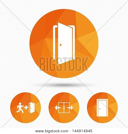 Automatic door icon. Emergency exit with human figure and arrow symbols. Fire exit signs. Triangular low poly buttons with shadow. Vector