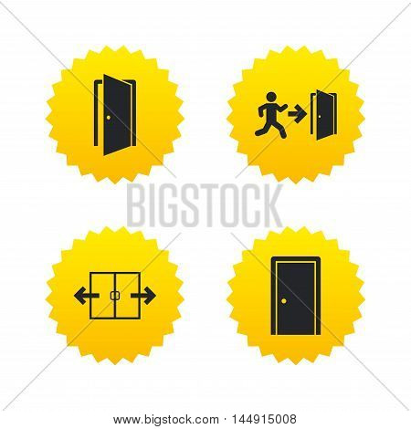 Automatic door icon. Emergency exit with human figure and arrow symbols. Fire exit signs. Yellow stars labels with flat icons. Vector