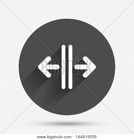 Open the door sign icon. Control in the elevator symbol. Circle flat button with shadow. Vector