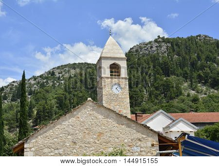 A building in the town of Stolac in Herzegovina part of the Herzegovina-Neretva Canton in the Federation of Bosnia and Herzegovina.