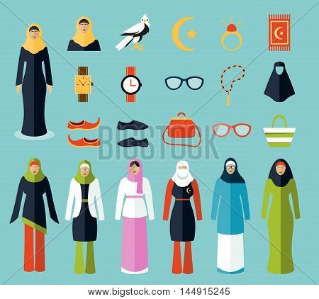 Arab woman accessories and clothes icons. Woman arab, cloth islam, woman handbag, sunglasses amd traditional arabic female, vector illustration