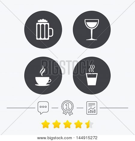 Drinks icons. Coffee cup and glass of beer symbols. Wine glass sign. Chat, award medal and report linear icons. Star vote ranking. Vector