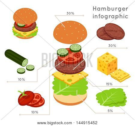 Hamburger ingredients flat isometric style vector infographics. Hamburger food, infographic ingredient, vegetable and salad illustration