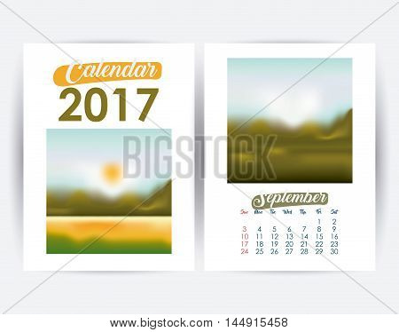 2017 september year frame landscape picture photo calendar planner month day icon. Colorful and Flat design. Vector illustration