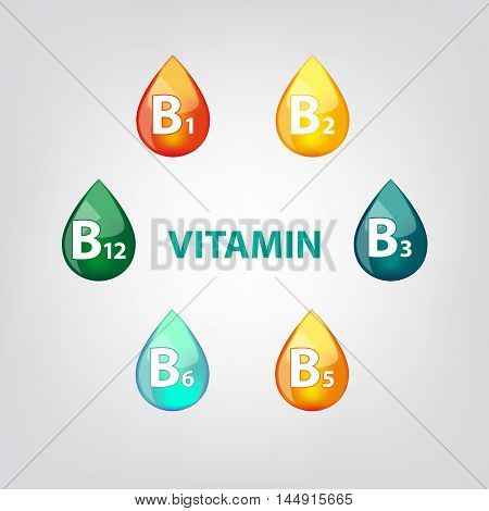 Colors drop of vitamins elements set vector illustration
