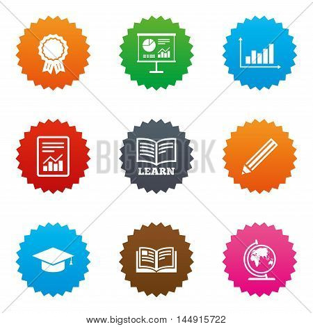 Education and study icon. Presentation signs. Report, analysis and award medal symbols. Stars label button with flat icons. Vector