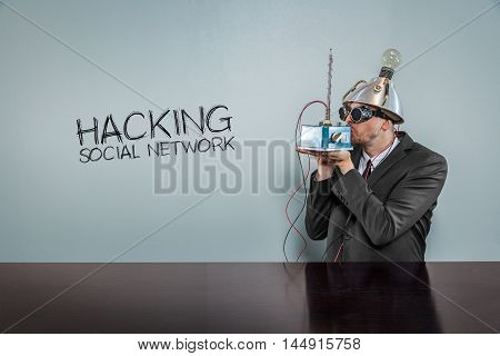 Hacking social network text with vintage businessman kissing machine