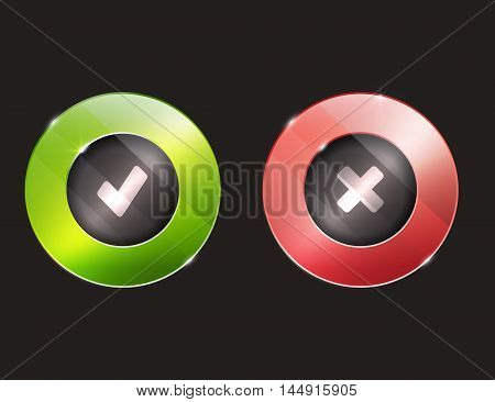 Yes no buttons. 3d. elements with glass surface. green and red