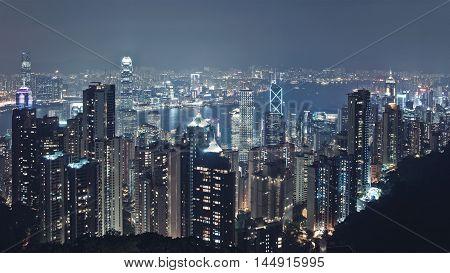 Panoramic Night Skyline Skyscrapers Cityscape