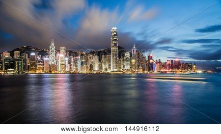 Hong Kong China Night Cityscape Waterfront Panorama