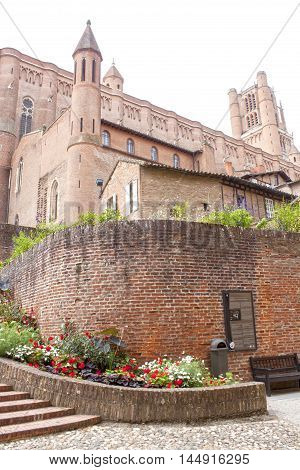 Historical Albi's Cathedral Surrounded Of Flowers In France
