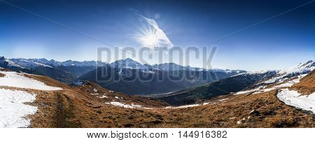 Wide Alpine Autumn Nature Mountains Landscape Sky Panoramic View