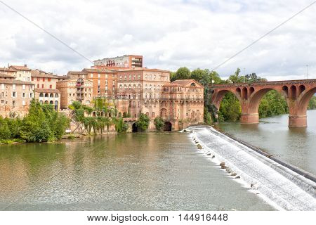 Houses In Albi Near The Old Bridge And The Tarn River