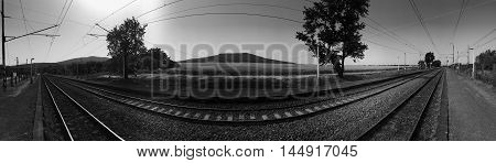 Railroad Landscape Railway Panoramic View. Outdoors Railroad Nature