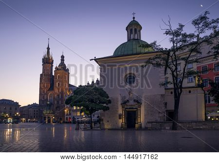 Main square in Krakow at night Poland