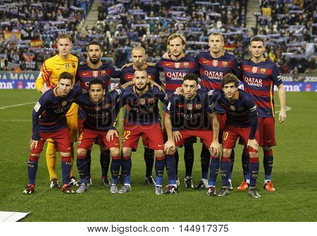 BARCELONA, SPAIN - JAN, 13: FC Barcelona lineup before a Spanish Kings Cup match against RCD Espanyol at the Power8 stadium on January 13, 2016 in Barcelona, Spain