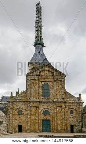 Classic facade of the church-abbey Saint-Michel France