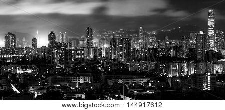 Hong Kong Night City Skyline Panoramic View.