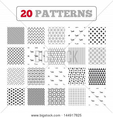 Ornament patterns, diagonal stripes and stars. Document icons. File extensions symbols. PDF, XLS, JPG and ISO virtual drive signs. Geometric textures. Vector