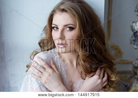 Female Portrait Of Cute Lady Indoors. Close Up Beautiful Sexy Model Girl In Elegant Pose. Closeup Be