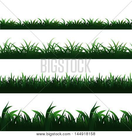 Green seamless grass borders vector set. Grass seamless border, design pattern grass, frame grass illustration