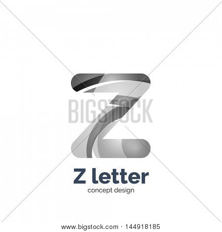 Vector Z letter logo, modern abstract geometric elegant design, shiny light effect. Created with flowing waves