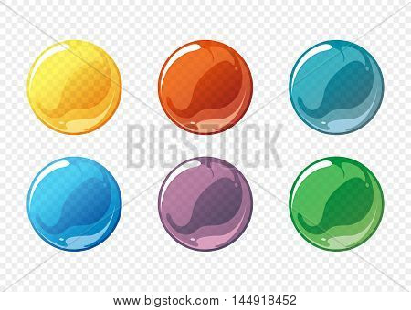 Cartoon soap bubble vector set. Bubble circle soap, sphere bubble soap, ball transparent bubble soap, glossy bubble soap. Vector illustration