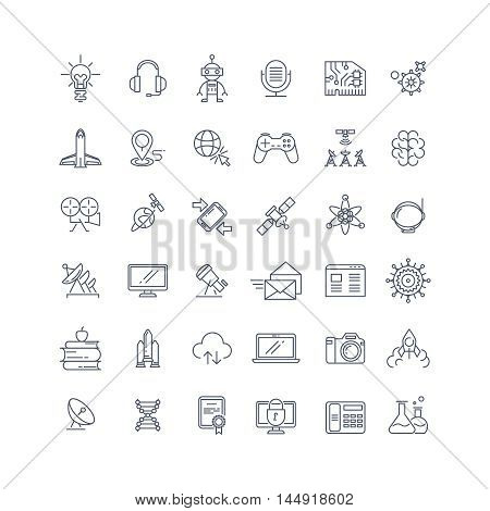 Technologies and science vector line icons. Technology science sign, research technology science, medical technology science chemistry science illustration