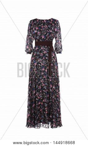 Women's colorful dress isolated on white studio shot
