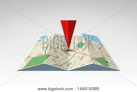 travel, cartography, location, navigation and geography concept - illustration of world map with red pointer