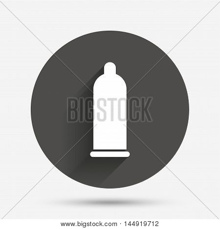 Condom safe sex sign icon. Safe love symbol. Circle flat button with shadow. Vector