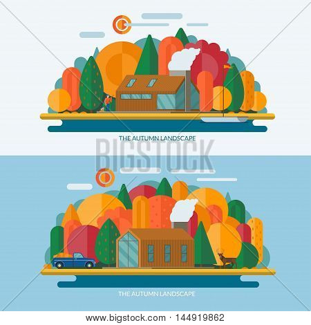 Autumn landscape concept illustrations. Modern private house, sun, trees, clouds, sailboat, lake shore. Set of banners in flat style.