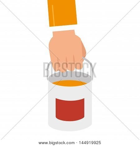 paint bucket  container repair and fix construction tools equipment vector illustration
