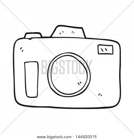 freehand drawn black and white cartoon camera