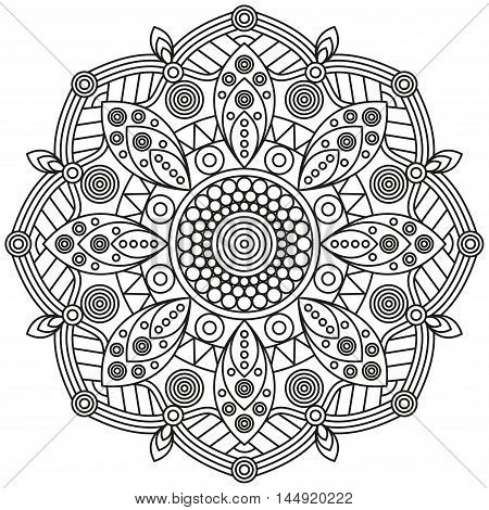 Mandala pattern in black & white. Ornamental print for coloring book pages.