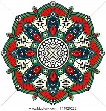 Mandala pattern in red, green, teal, blue, pale yellow & white. Oriental style floral ornament for ethnic prints, mural art, wall decals.