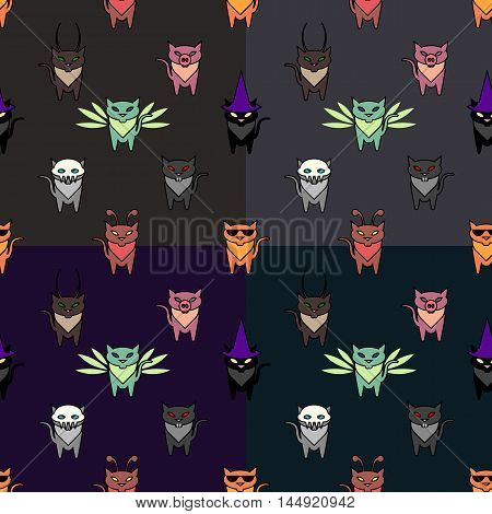 Cute Hallowen cats set with differen backgrounds colors. Simple and nice illustration
