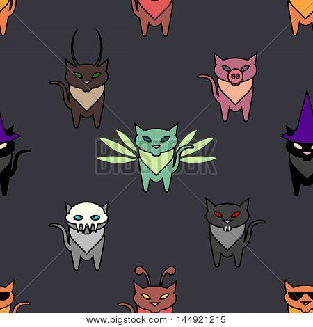 Cute Hallowen cats on the grat background. Simple and nice illustration