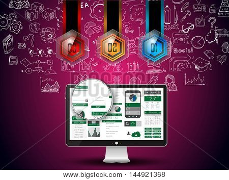 Clean Infographic Layout Template for data and information analysis with a number of solutions available. Ideal for product presentation, year production reports and so on.