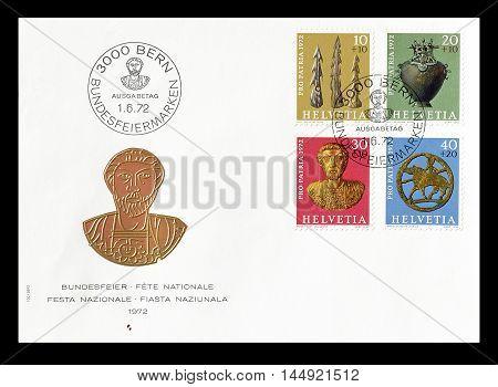 SWITZERLAND - CIRCA 1972 : Cancelled First Day Cover letter printed by Switzerland, that  shows artefacts.