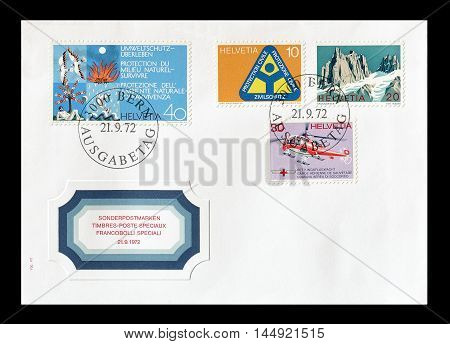 SWITZERLAND - CIRCA 1972 : Cancelled First Day Cover letter printed by Switzerland, that promotes environment.