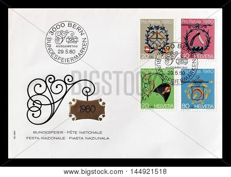 SWITZERLAND - CIRCA 1980 : Cancelled First Day Cover letter printed by Switzerland, that shows profession signs.